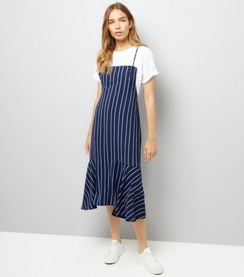 Navy Stripe Pinafore Midi Dress