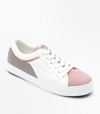 White Colour Block Lace Up Trainers
