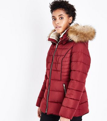 Cameo Rose Burgundy Fitted Puffer Jacket