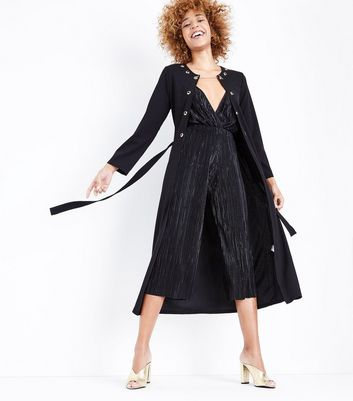 Mela Black Chain Clip Duster Jacket