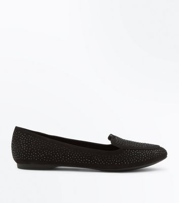 Black Suedette Embellished Pointed Loafers