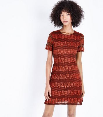 Mela Red Floral Lace Shift Dress