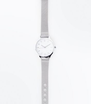 Silver Mesh Strap Numbered Watch