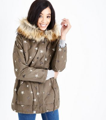 Blue Vanilla Olive Green Star Embellished Parka Jacket
