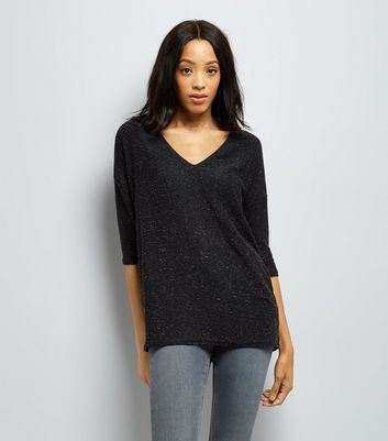 Charcoal Textured V Neck Jumper