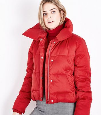 Red Cropped Puffer Jacket