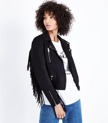 Black Suedette Fringed Biker Jacket