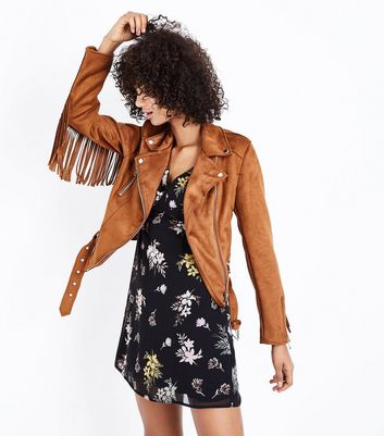 Tan Suedette Fringed Biker Jacket