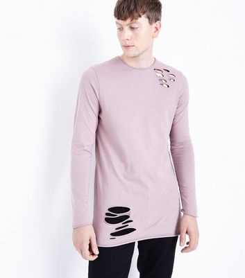 Pink Ripped Long Sleeve T-Shirt
