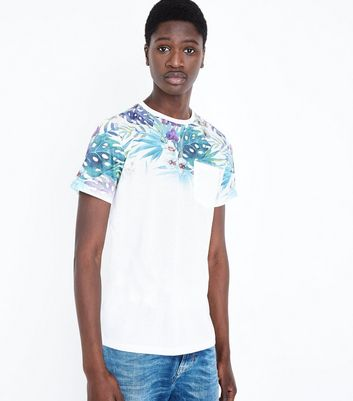 White Faded Leaf Print T-Shirt