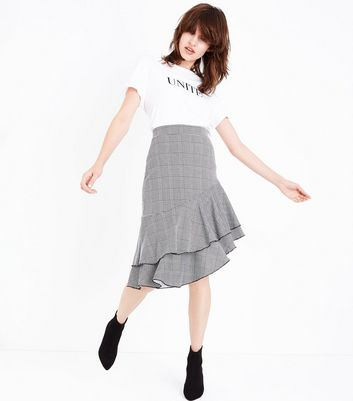 Innocence Black Check Asymmetrical Frill Hem Skirt