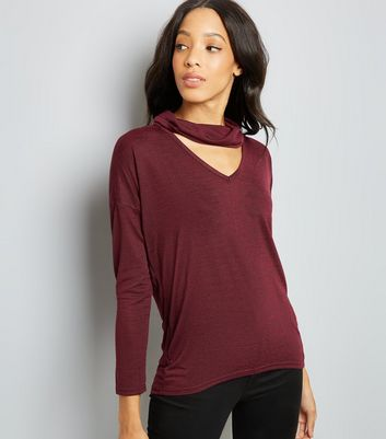 Burgundy Fine Knit Cowl Choker Neck Top