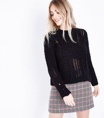 Petite Black Ladder Cable Knit Jumper