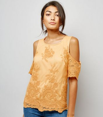 Yellow Floral Embroidered Mesh Cold Shoulder Top