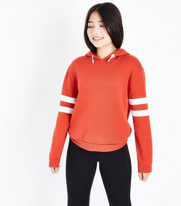 Teens Orange Stripe Sleeve Hoodie