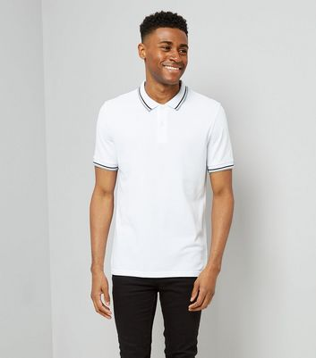 White Contrast Trim Polo T-Shirt
