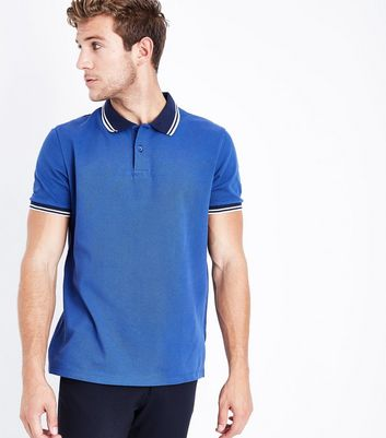 Blue Contrast Trim Polo T-Shirt