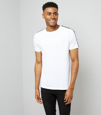Black NYC Tape Shoulder T-Shirt