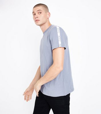 Pale Blue NYC Tape Shoulder T-Shirt