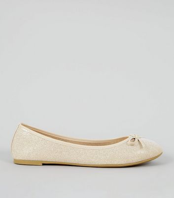 Gold Glitter Patent Trim Ballet Pumps
