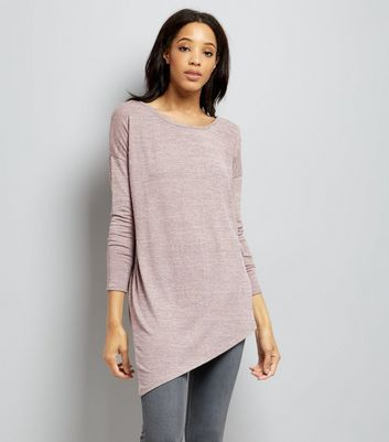 Pink Fine Knit Aysmmetric Hem Tunic Top