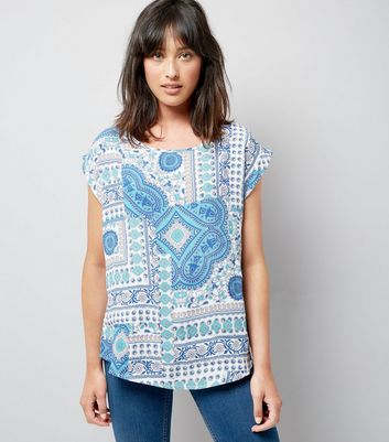 Apricot Blue Tile Print Short Sleeve Top