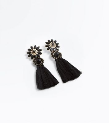 Black Flower Tassel Drop Earrings