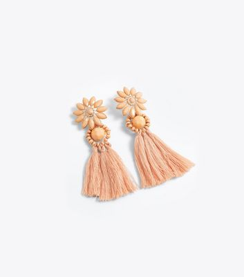 Shell Pink Tassel Drop Earrings