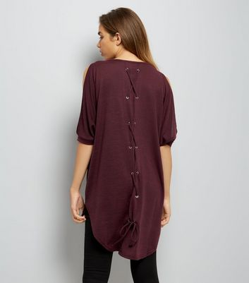Burgundy Fine Knit Lace Up Back Oversized Top