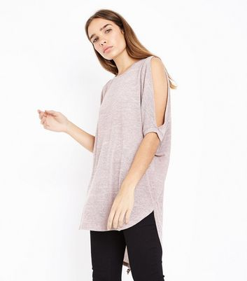 Pink Fine Knit Lace Up Back Oversized Top