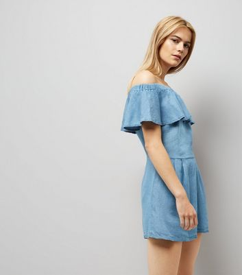 Cameo Rose Blue Bardot Neck Playsuit