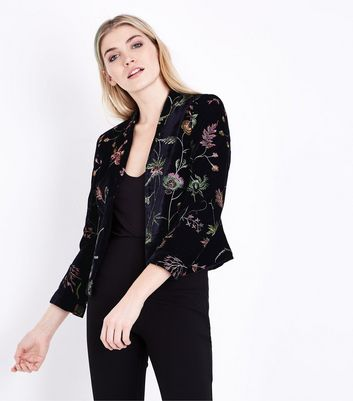 Black Velvet Floral Embroidered Blazer