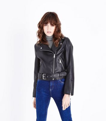 Black Leather-Look Belted Biker Jacket