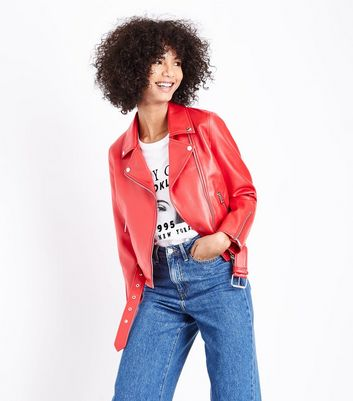 Red Leather-Look Belted Biker Jacket