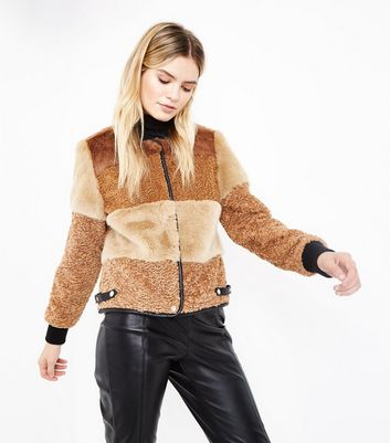 Brown Patchwork Faux Fur Jacket