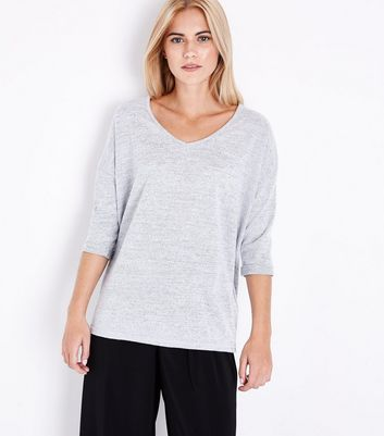 Pale Grey V Neck Fine Knit Top