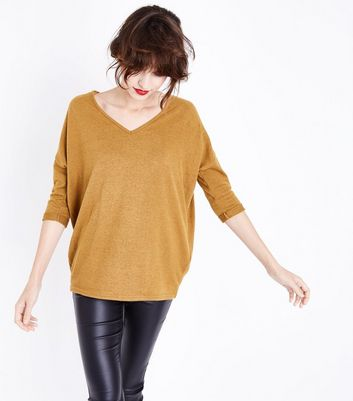 Mustard Yellow V Neck Fine Knit Top