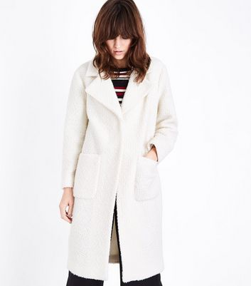 Cream Fluffy Midi Coat