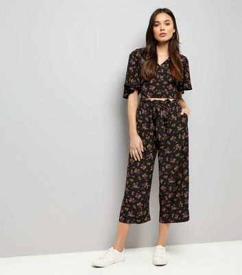 Black Floral Print Tie Waist Cropped Trousers