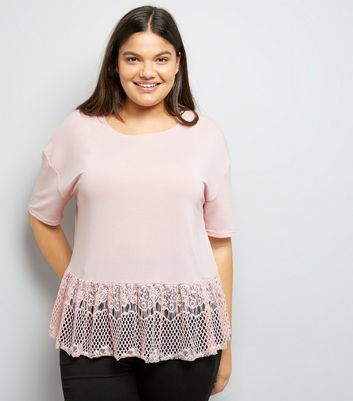 Curves Pink Fine Knit Lace Hem Top
