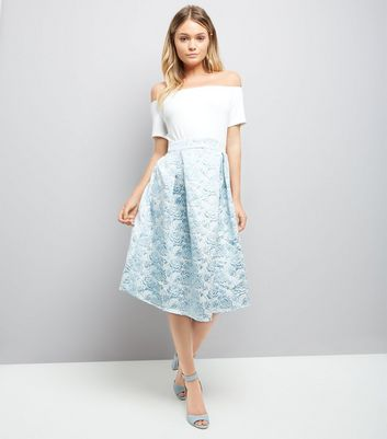AX Paris Blue Floral Skirt Bardot Neck Dress