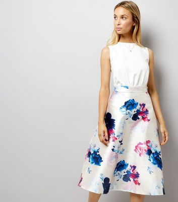 AX Paris White Floral Print Satin 2 in 1 Dress