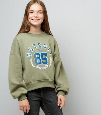 Teens Khaki Balloon Detroit Slogan Sweater