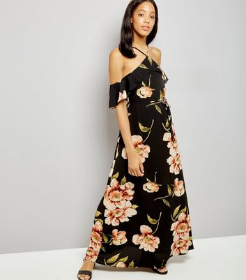 AX Paris Black Floral Print Cold Shoulder Dress