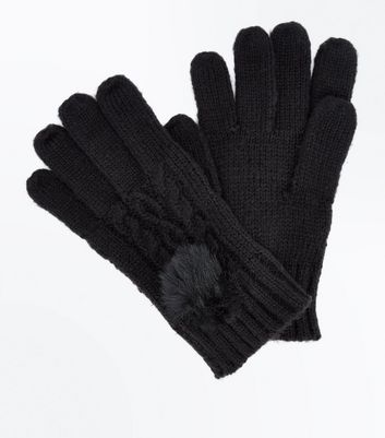 Black Cable Knit Faux Fur Pom Pom Gloves