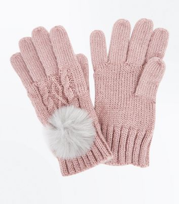 Pink Cable Knit Faux Fur Pom Pom Gloves