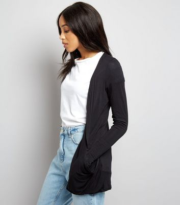 Tall Black Longline Cardigan