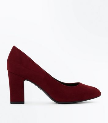 Wide Fit – Weinrote, bequeme Pumps