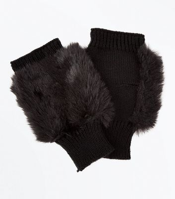 Black Faux Fur Handwarmer Gloves