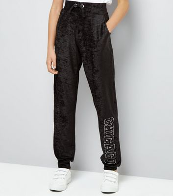 Teens Black Velvet Chicago Embroidered Leg Joggers